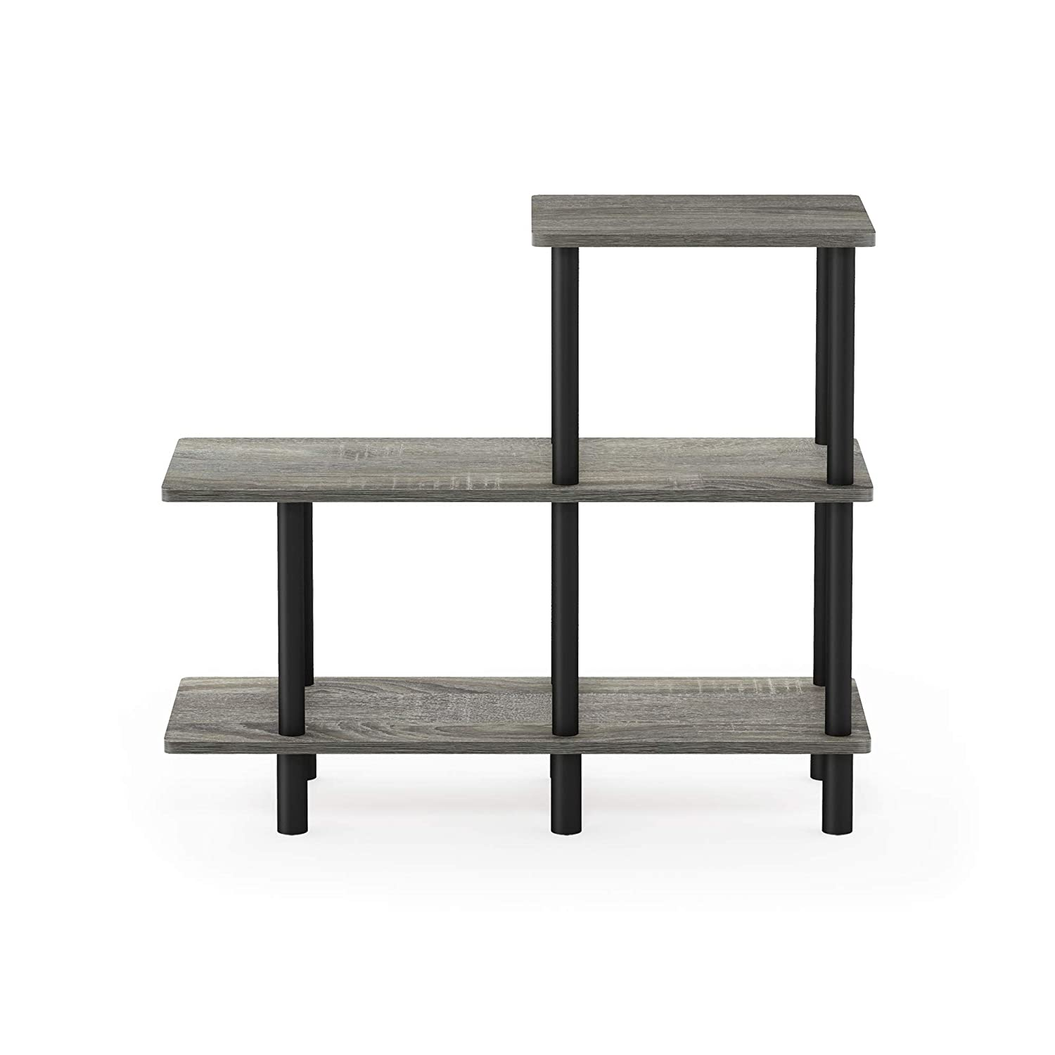 Furinno Turn-N-Tube 3-Tier Cube Ladder Shelf, French Oak Grey/Black