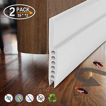 Burlete de puerta de silicona autoadhesivo para puerta de garaje, 2 unidades, color blanco: Amazon.es: Bricolaje y herramientas