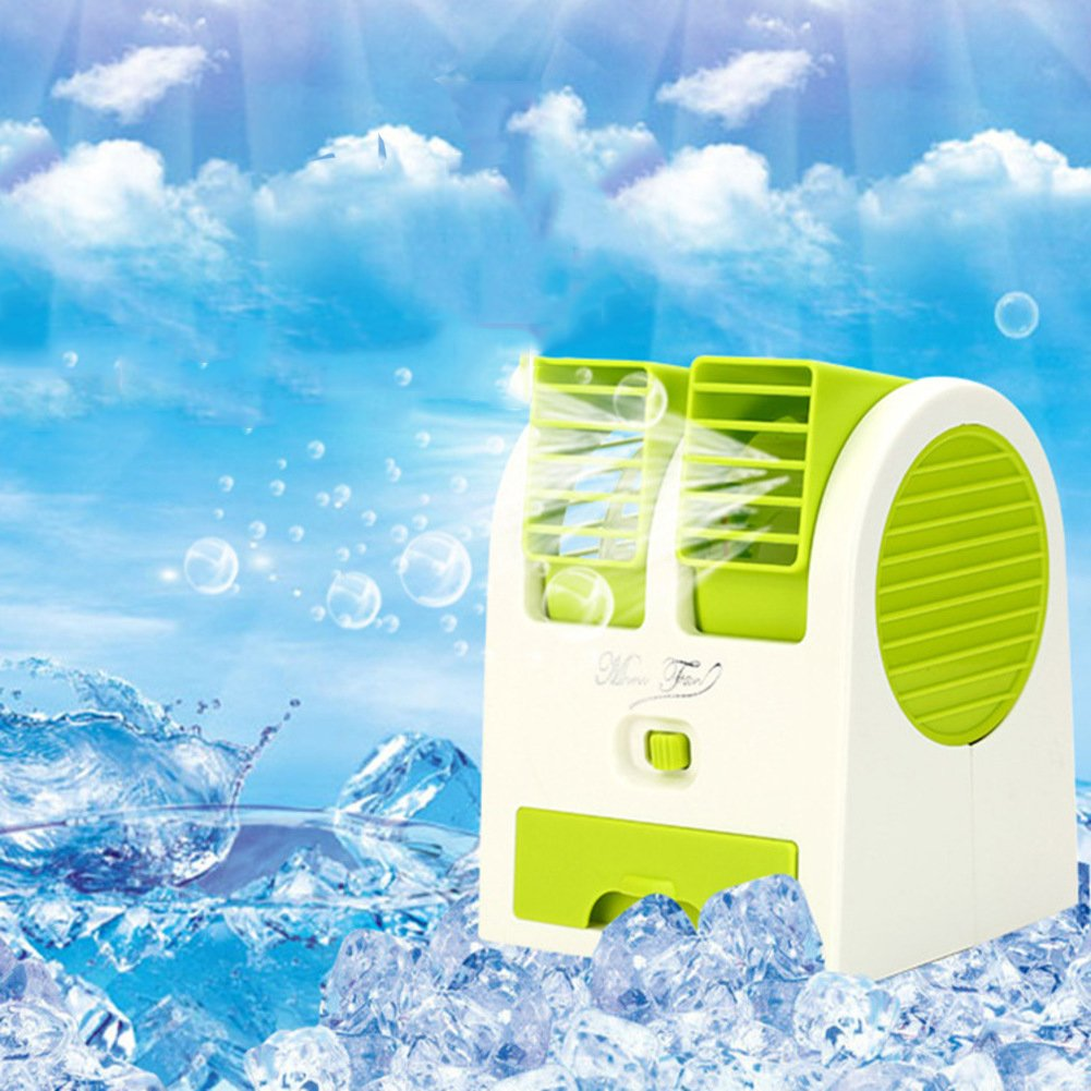 JiaQi Mini Air Conditioner,Desktop Air Conditioner,Usb Bladeless Fan Cooling Office Home Air Cooler Portable-green 12x11x15cm(5x4x6inch)