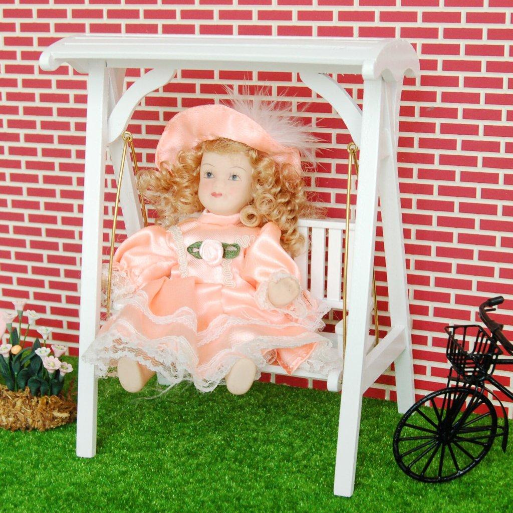 1/12 Puppenhaus Miniatur Gartenmöbel aus Holz Schaukel ...