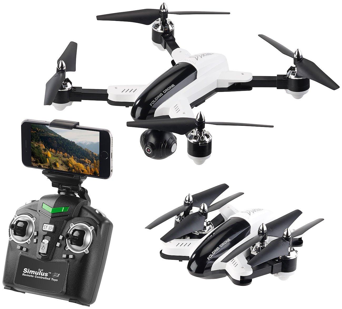 Drone Simulus, quadrirotore pieghevole WiFi FPV con videocamera HD, radiocomando da 2,4 GHz e supporto App