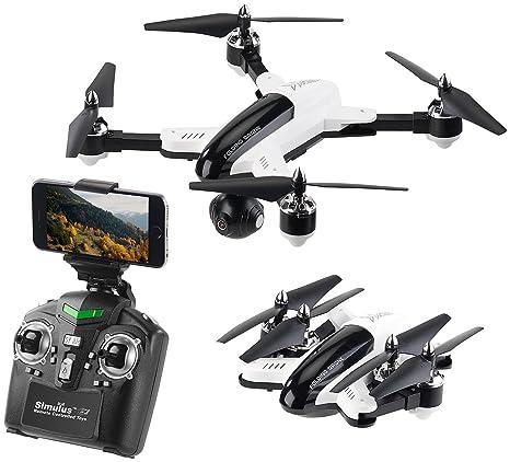Simulus dron: Plegable FPV de cuadricóptero M. CAM HD, WiFi, de 2 ...