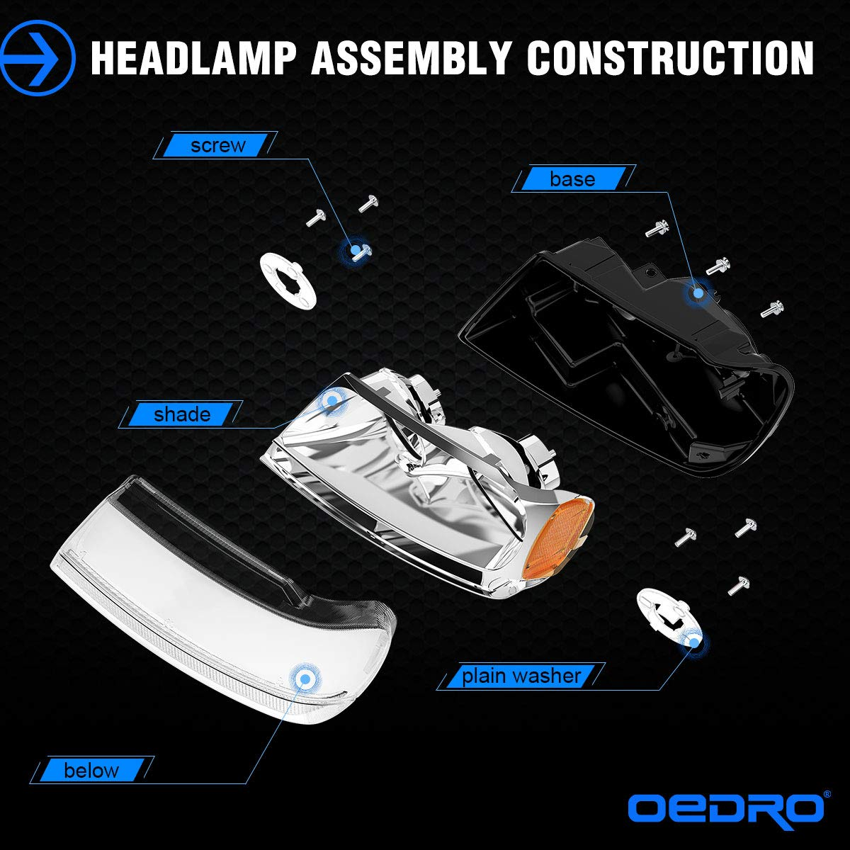 For 1999-2004 Jeep Grand Cherokee Headlights 4-Dr OEDRO Upgrated Amber Side Chrome Housing Crystal Clear Replacement Headlight Set Left+Right 2-Yr Warranty