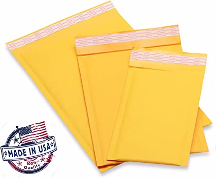 2000 4x8 #000 Ecolite Brand Made In Kraft Bubble Mailers Padded Envelopes USA