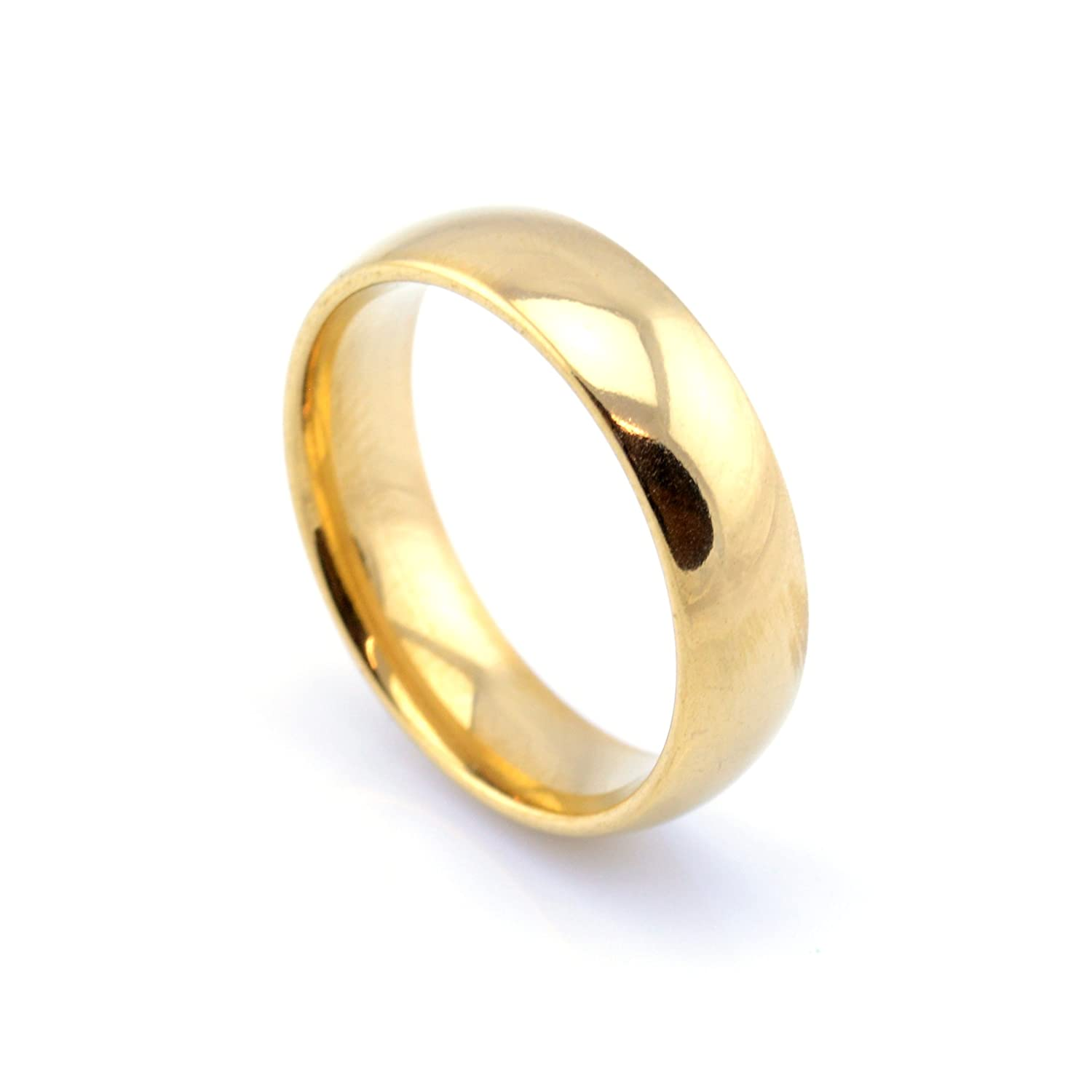 Vault 101 Limited 18k Gold Plated Men's Women's Stainless Steel Wedding Band Ring (6mm Wide) GOLDPLAINRING6MM1