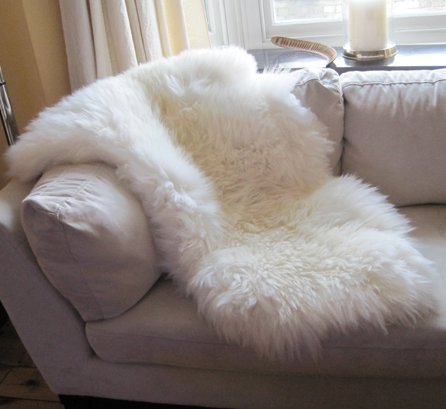 INDIGOSILK Genuine Natural Ivory Sheepskin Rug Indigo Silk (Large) SNUGRUGS