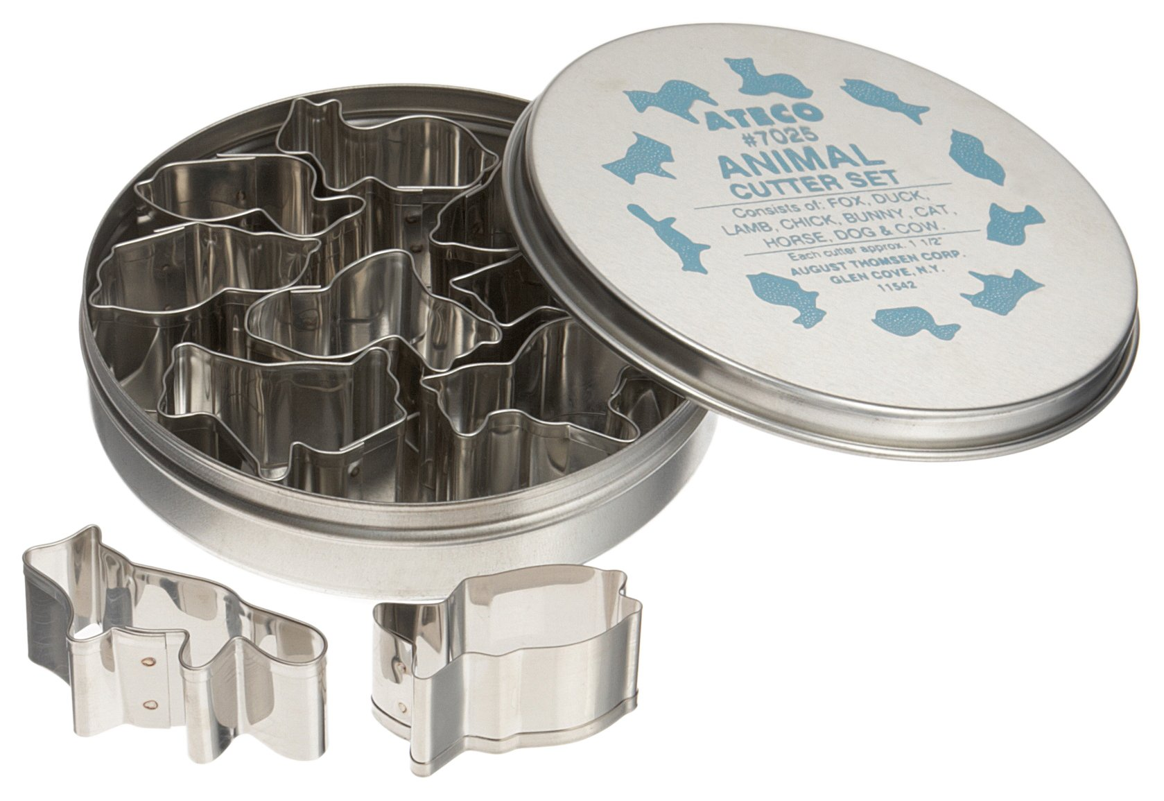 Ateco 7025 Plain Edge Animal Cutters in Assorted Animal Shapes, Stainless Steel, 10 Pc Set