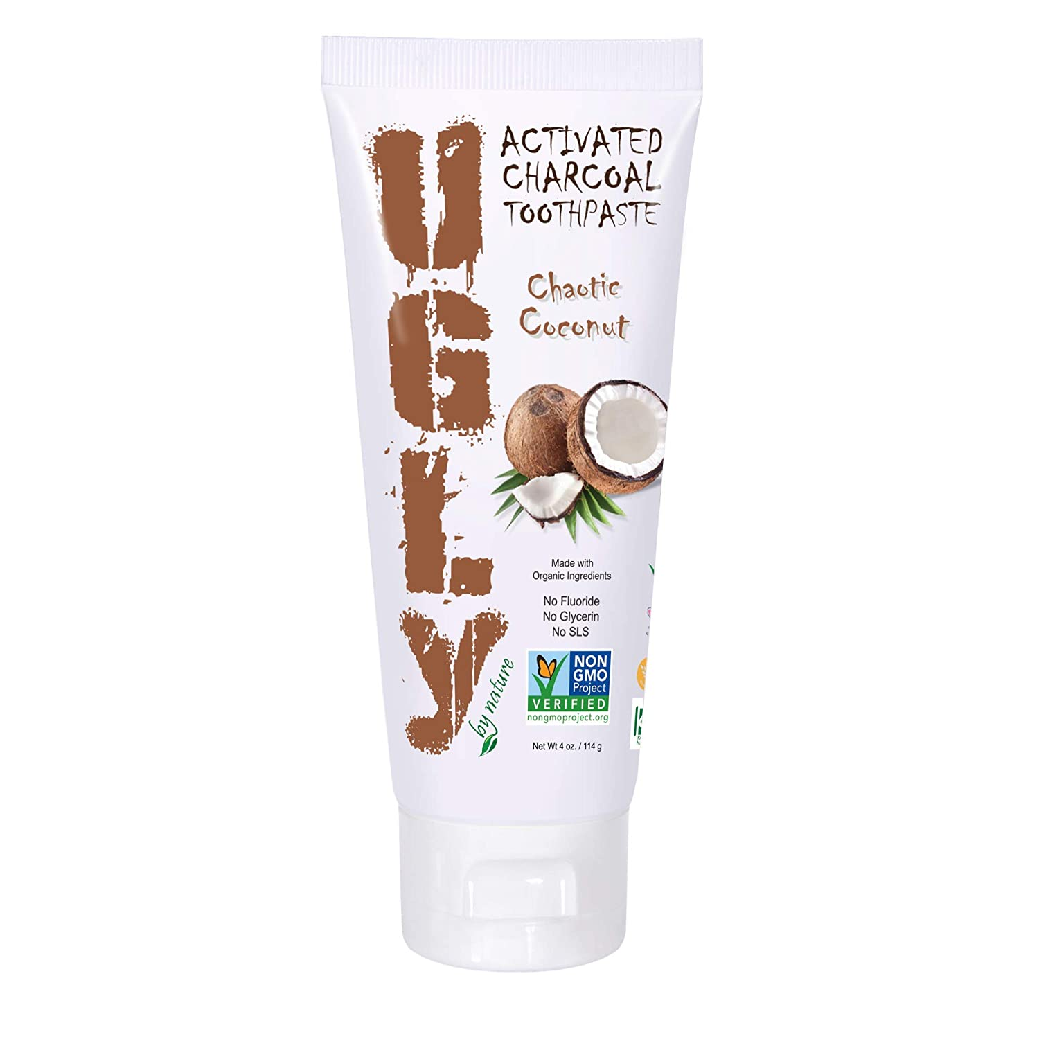 UGLY BY NATURE Fluoride Free Toothpaste, Chaotic Coconut - Natural Toothpaste with Organic Ingredients for Whiter Teeth & Fresh Breath, Vegan, Non-GMO 4 oz