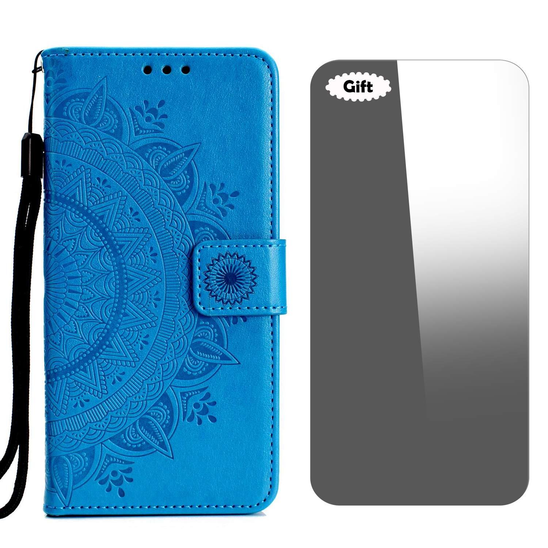 Bleu Coque Galaxy Note 4 Protecteur d/écran en Verre Tremp/é Gratuit Etui en PU Cuir Portefeuille + S/érie Totem Fermeture Magn/étique Flip Case Housse pour Samsung Galaxy Note 4
