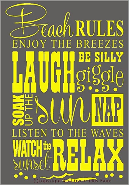 Wall Decor Plus More Beach Rules Subway Art Phrases and Quote Wall ...