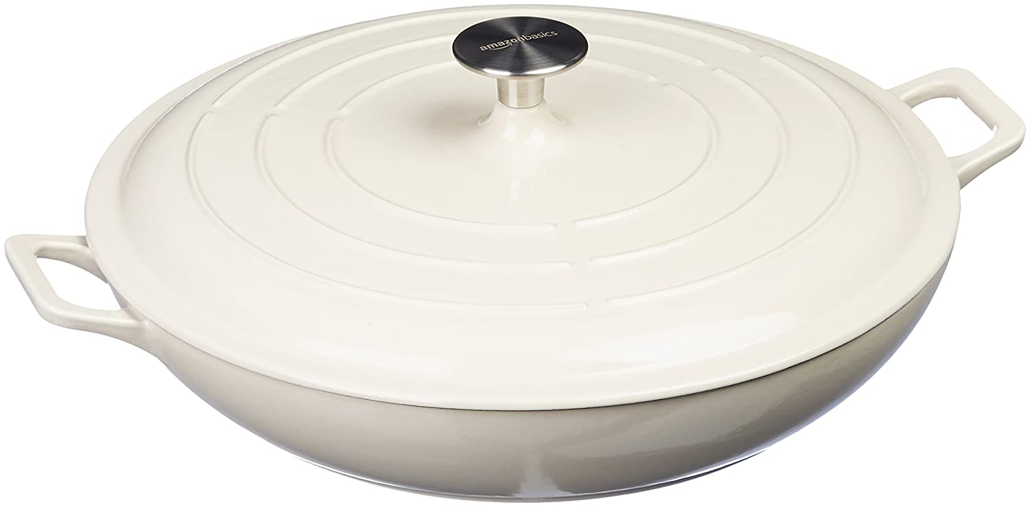 AmazonBasics Enameled Cast Iron Covered Casserole - 3.3-Quart, White