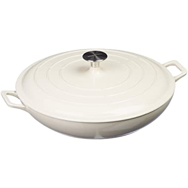 AmazonBasics Enameled Cast Iron Covered Casserole Skillet, 3.3-Quart, White