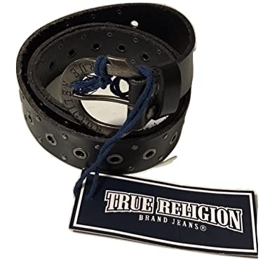 24e589227 Amazon.com  True Religion Men s Grommet Studded Leather Belt in Black   Clothing
