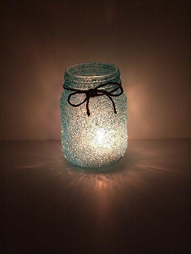BLUE Crystal Frosted Glass Lantern Mason Jar Wedding Table Centerpiece Candle SET