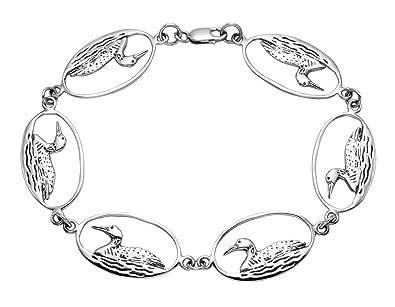 Amazon.com: Sterling Silver Loon Bracelet in Oval Frame: Jewelry