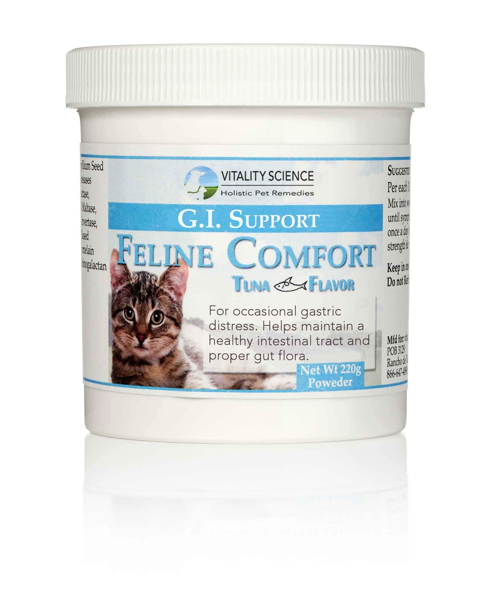 Vitality Science Feline Comfort for Cats | Maintains a Healthy Intestinal Tract and Proper Gut Flora | Restores Gastric Distress | for Vomiting and Diarrhea | 100% Additive Free (Seafood, 220g) by Vitality Science
