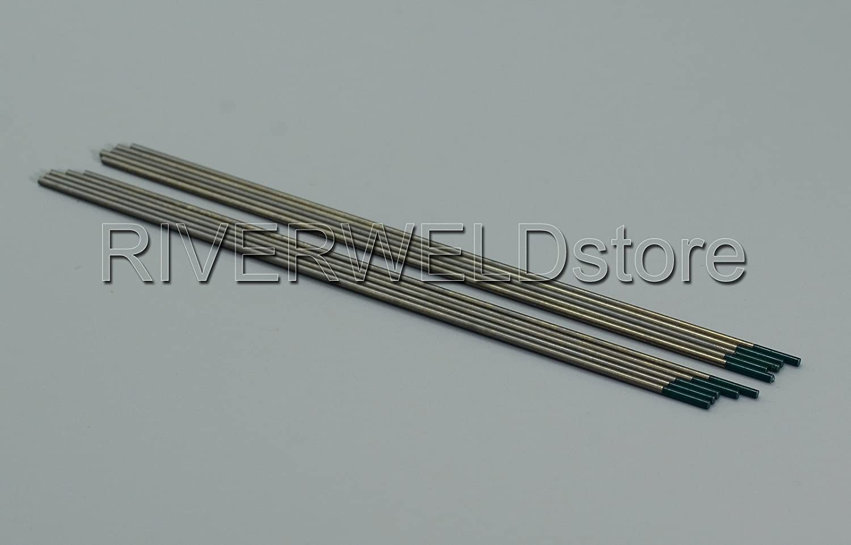 1//8x6 /& 3.2x150mm 10PK TIG Welding Pure Tungsten Electrode Green Tip Pack of 10