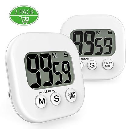 Temporizador digital de cocina, gvoo 2pcs imán de Digital temporizador de cocina reloj de cuenta