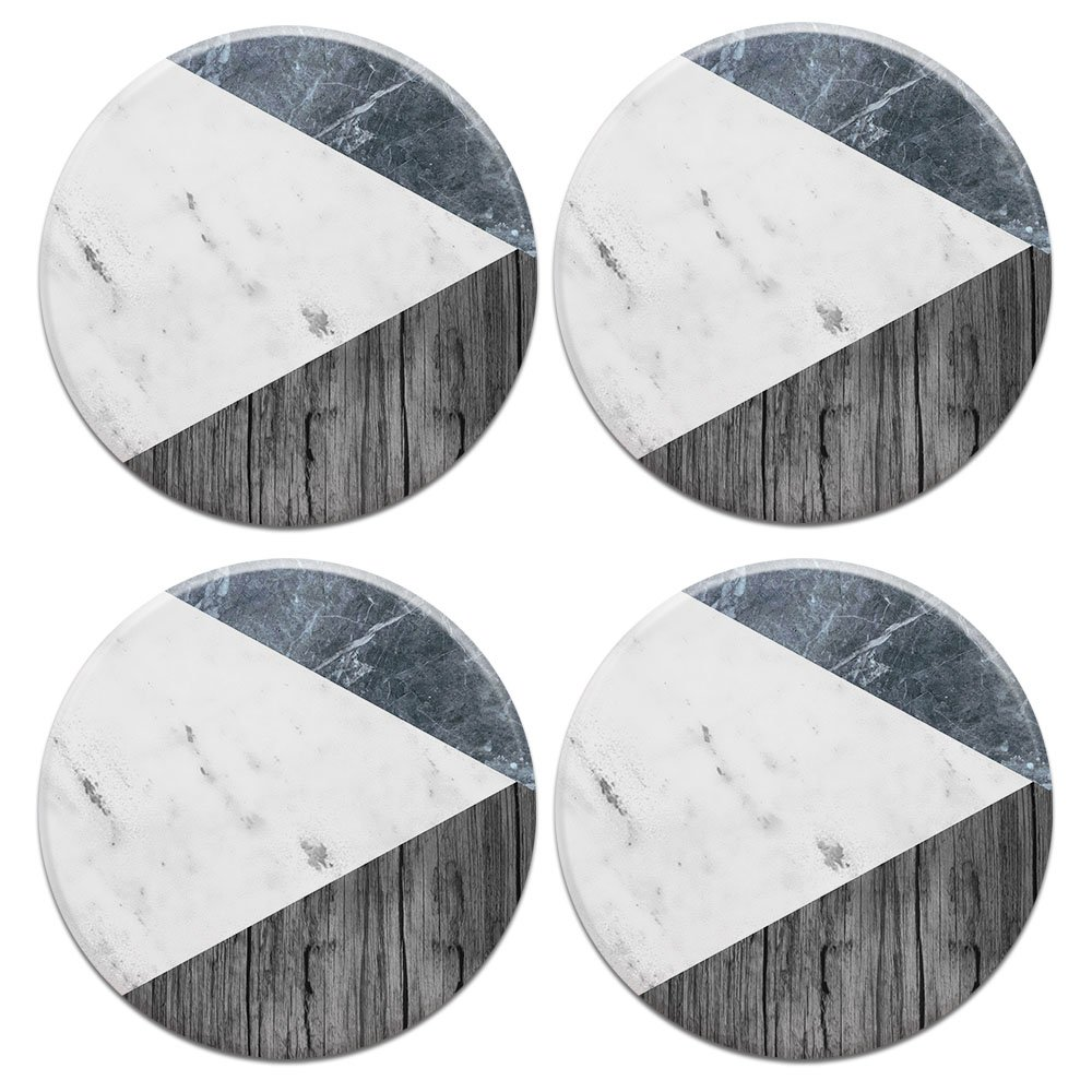 CARIBOU ROUND Ceramic Stone Coasters 4pcs Set, Mug Coffee Cup Place Mat Home Coasters for Hot & Cold Drinks, Blue White Marble Wood