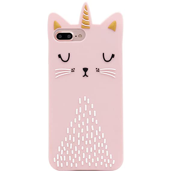 separation shoes 181f0 5d28e iPhone 8 Plus Case, iPhone 7 Plus Case, MC Fashion Cute 3D Cat Animals Soft  and Protective Silicone Case Skin for Apple iPhone 7 Plus and iPhone 8 ...