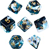 Polyhedral 7-Die Dice Set for Dungeons and Dragons with Black Pouch (Teal White Swirls)