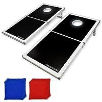 GoSports Cornhole Pro - Juego de puf Plegable (diseño Negro, LED y Rojo y Azul)