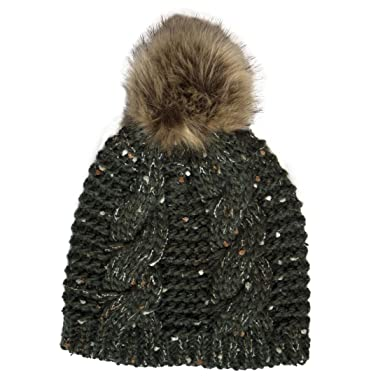 Patrick Francis Ireland Knitted Bottle Green Speckled Design Fur ... 24a2775464e