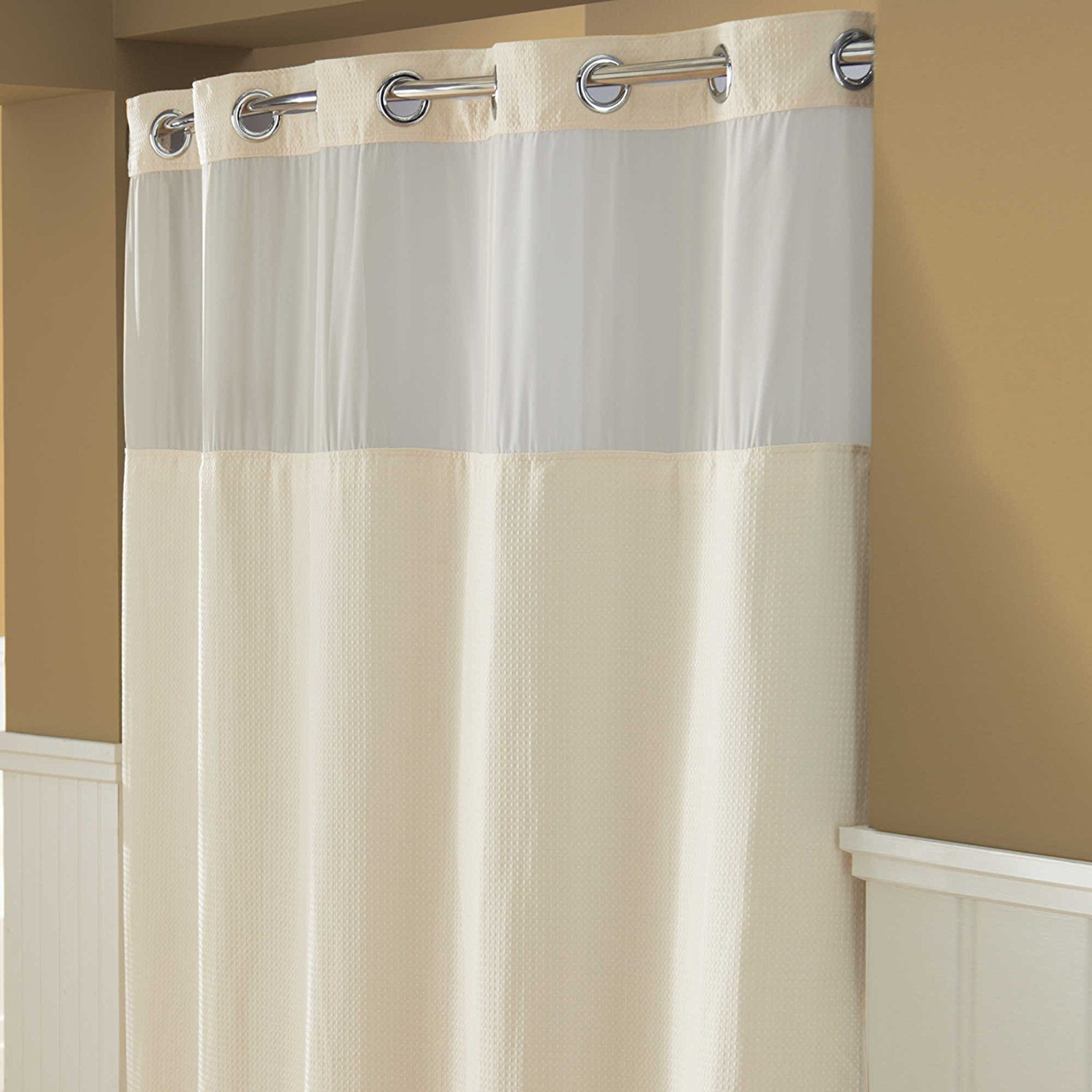 Hookless Hangis in Seconds Waffle Fabric Shower Curtain (71 x 74, Cream)