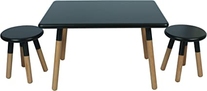 Amazon Com Ace Casual Kids Dipped Table Stool Set Black One