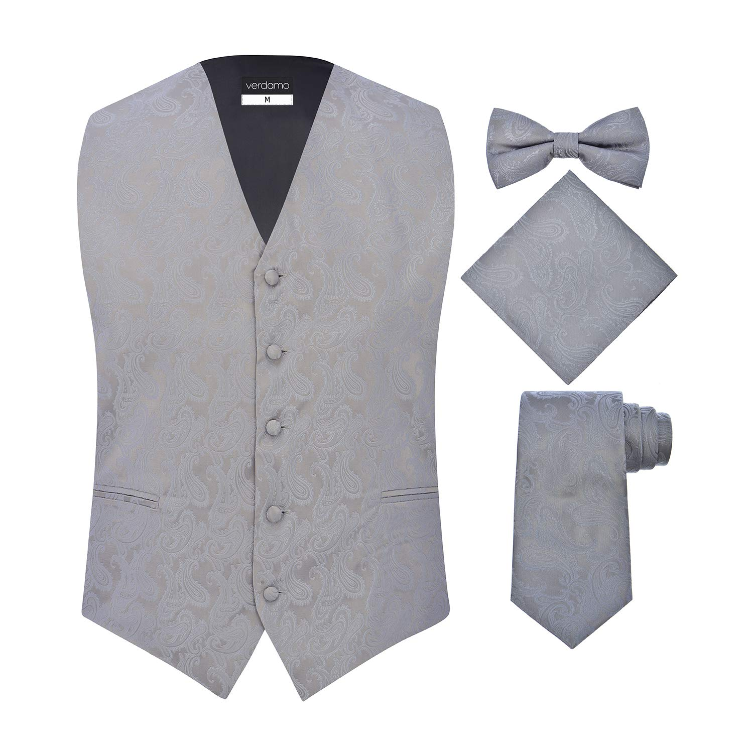 Men's 4 Piece Paisley Vest Set, with Bow Tie, Neck Tie & Pocket Hankie - (L (Chest 44), Silver)