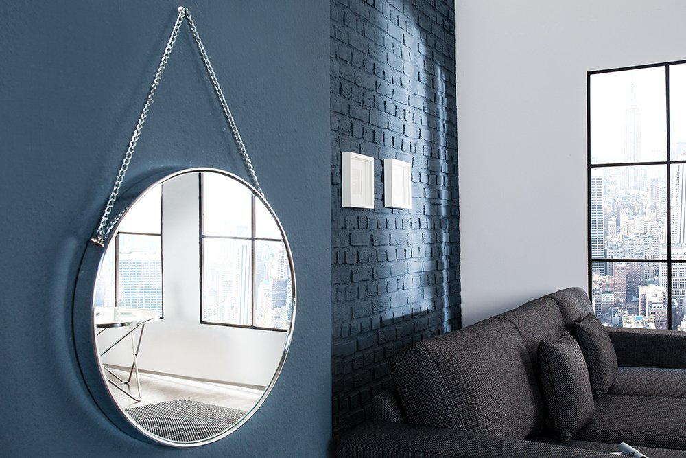 Design Spiegel PORTRAIT 45 cm silber mit Kettenaufhängung Chrom rund ...