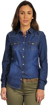 Springfield Denim Blouse, Blusa Para Mujer, Azul Oscuro (Dark ...