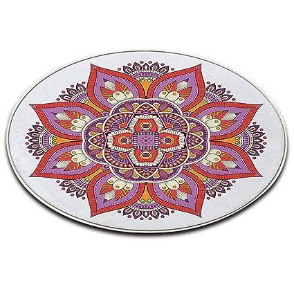 Lb Tappeto Tondo Sfondo Bianco Fiore Motivo Geometrico Motivo A