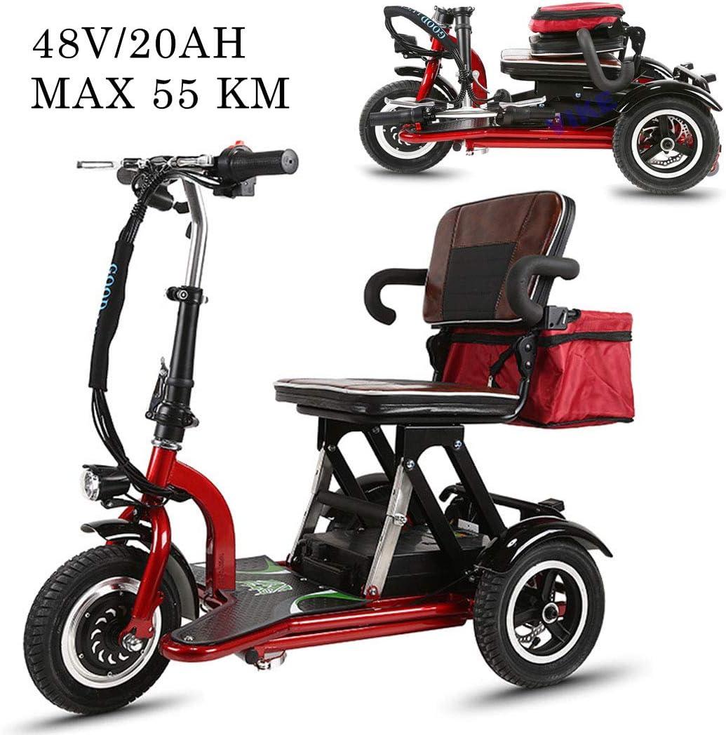 48V / 20AH Adulto Triciclo eléctrico Scooter Vehículo portátil Scooter motorizado Viaje Plegable Coche eléctrico Batería de Litio Vida útil 55 km Silla de Ruedas eléctrica