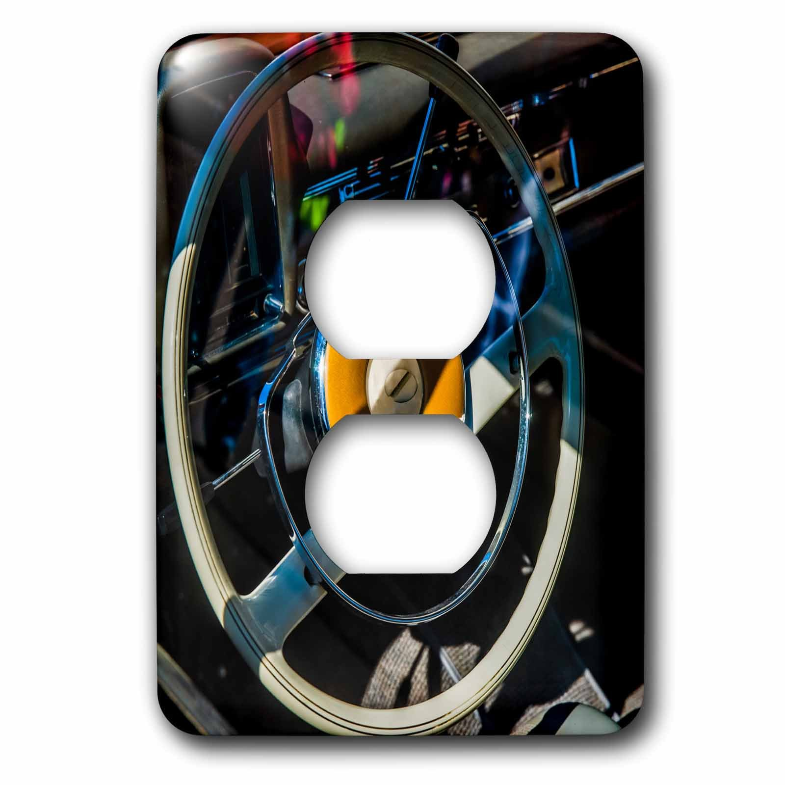 3dRose Alexis Photography - Transport Road - Steering wheel of a vintage luxury car - Light Switch Covers - 2 plug outlet cover (lsp_271910_6) by 3dRose (Image #1)