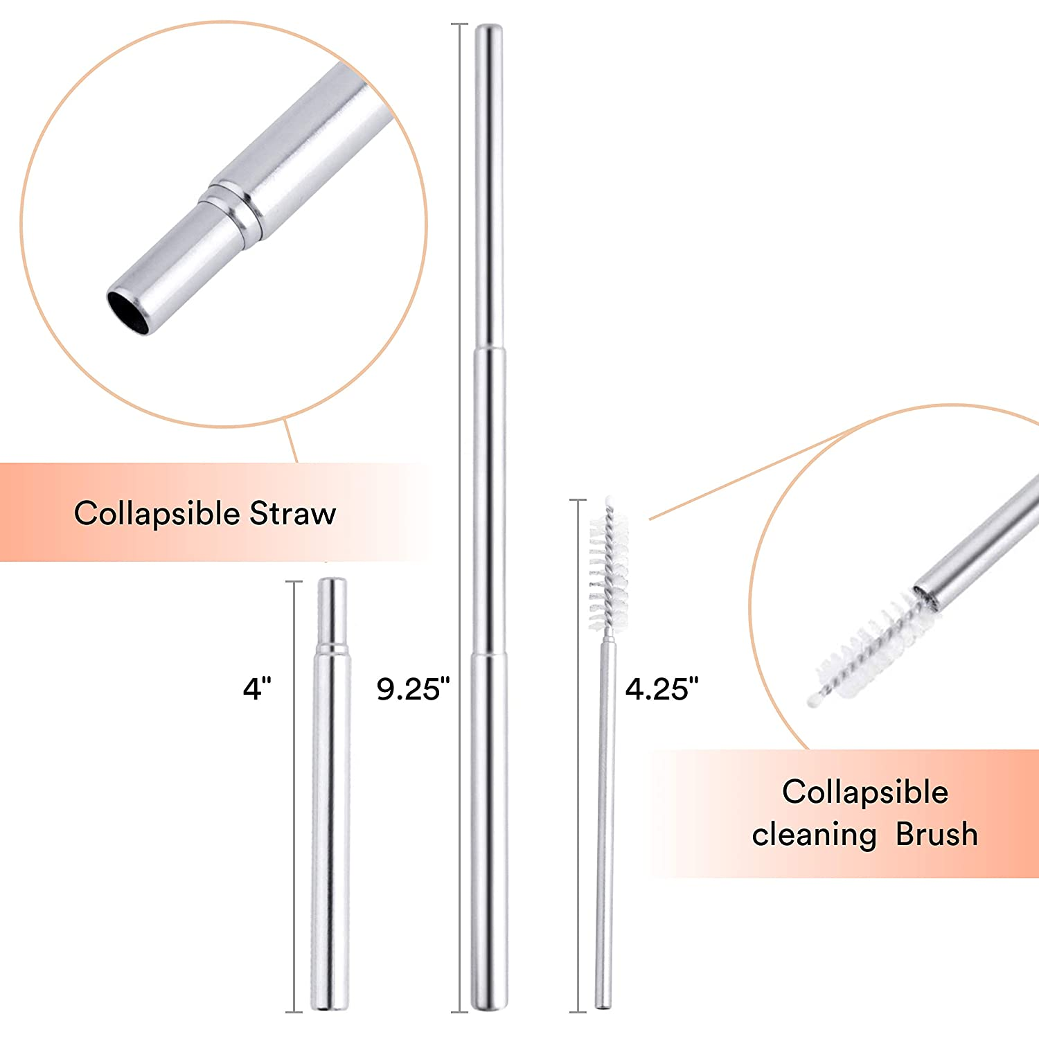 Dishwasher Safe Eco-Pals +1 Straw Cleaning Brush Straws Drinking Reusable Folding Straw Stainless Steel Straw Charcoal