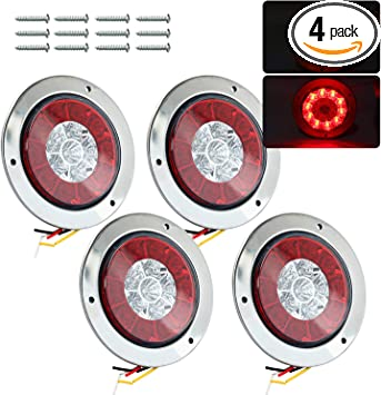 """4/"""" Red Amber 16 LED Round Stop//Turn//Tail//Brake Truck Light w// Stainless Ring 4pc"""