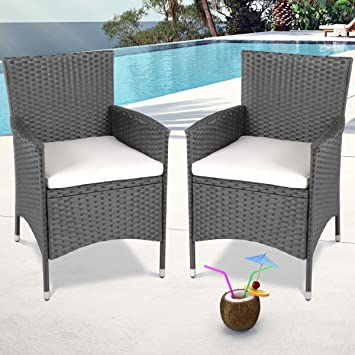e0194bf974a2 Miadomodo® Set of Polyrattan Chairs with Seat Cushions (Choice of Colour  and Set)