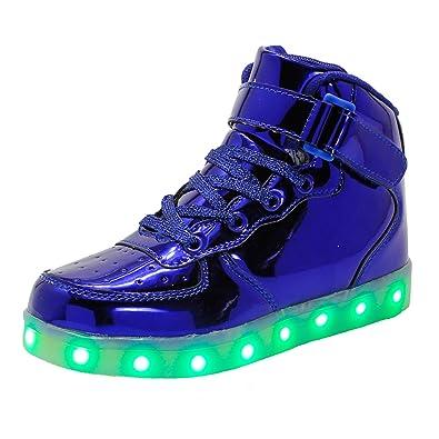 WAWEN Kinder LED leuchten schuhe High Top USB Lade Casual turnschuhe Junge mädchen kind Emitting Klett schuhe Halloween Weihnachten Weiß 36 CmdrE5y