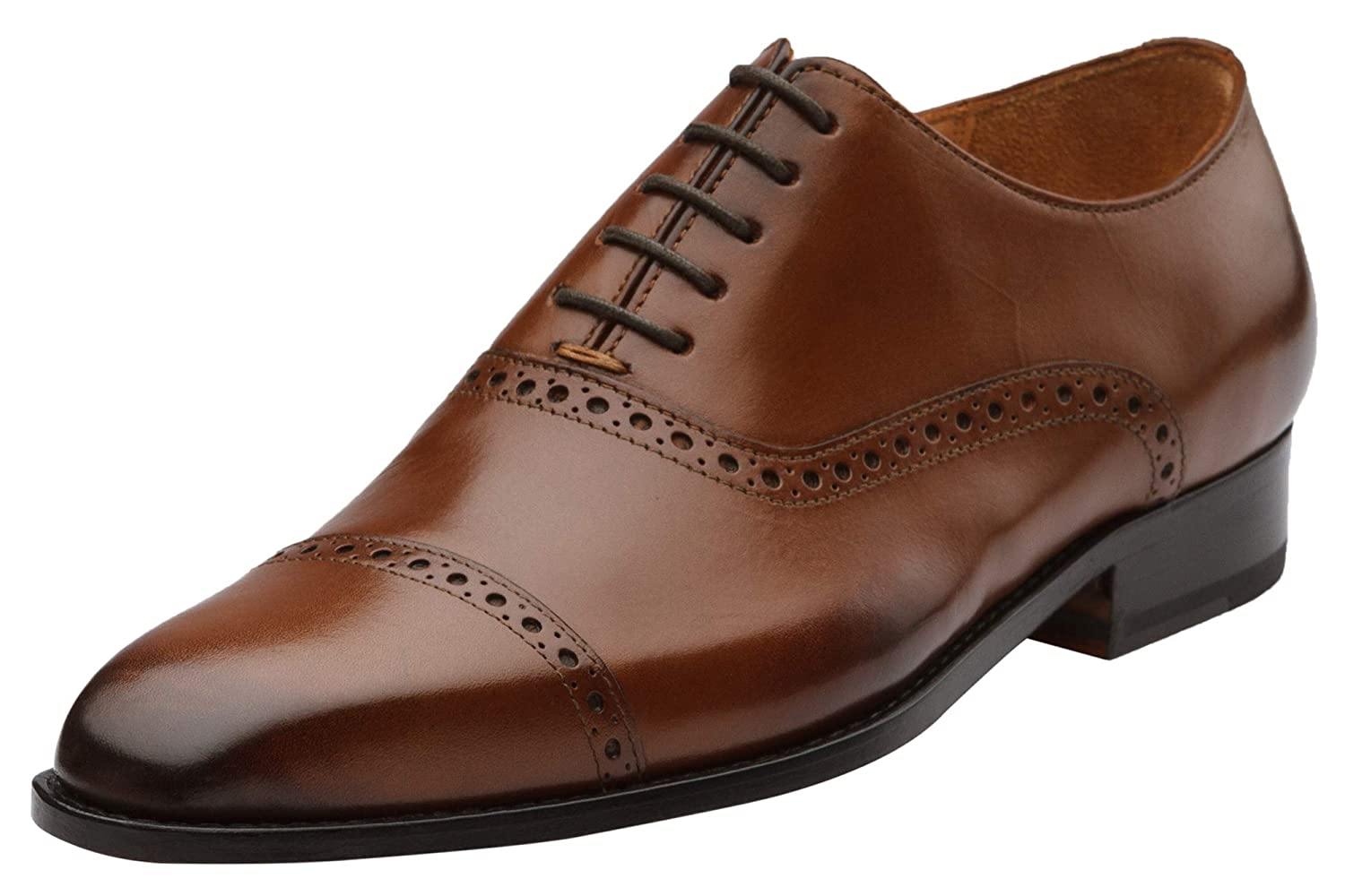 Med-brown 3DM Lifestyle Handcrafted Men's Genuine Leather Semi Brogue Leather Oxfords shoes