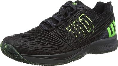 WILSON Kaos 2.0, Zapatilla de Tenis, para Todo Tipo de Superficies, tenistas de Cualquier Nivel para Hombre, Blanco/Negro/Amarillo, número 44 EU: Amazon.es: Zapatos y complementos