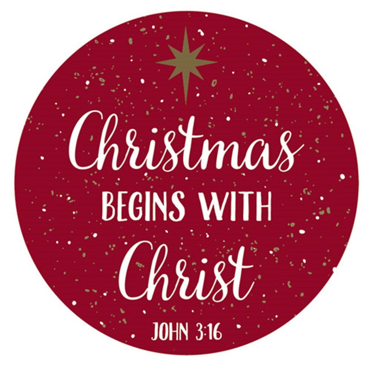 Amazon.com: Christmas Begins with Christ Magnet with John 3:16 Bible ...