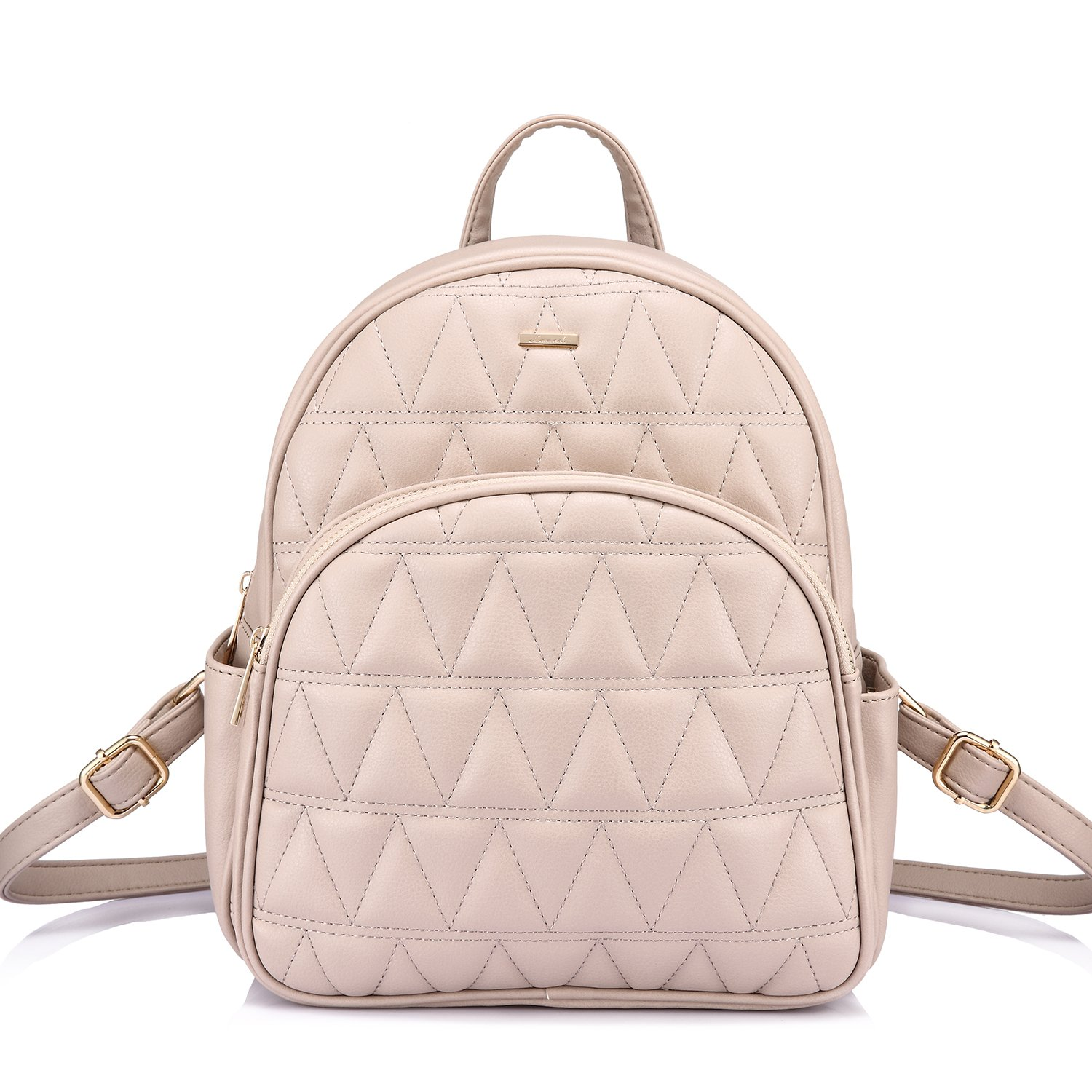 LOVEVOOK Backpack Purse Quilted Casual Backpacks for Women Beige-1