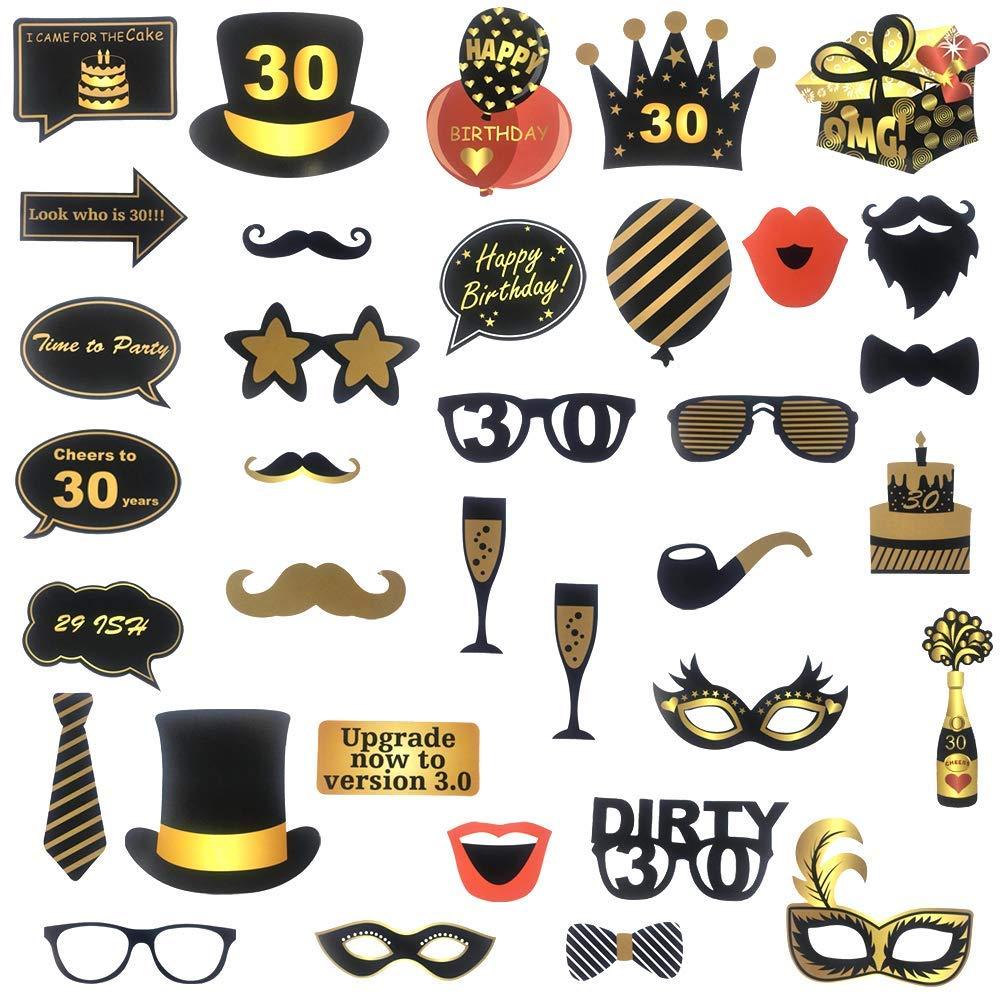 Sayala 50Pieze Negro y Oro Feliz 60 cumplea/ños Decoraciones F/ácil de ensamblar 60o Fiesta de cumplea/ños Selfie Props Kit