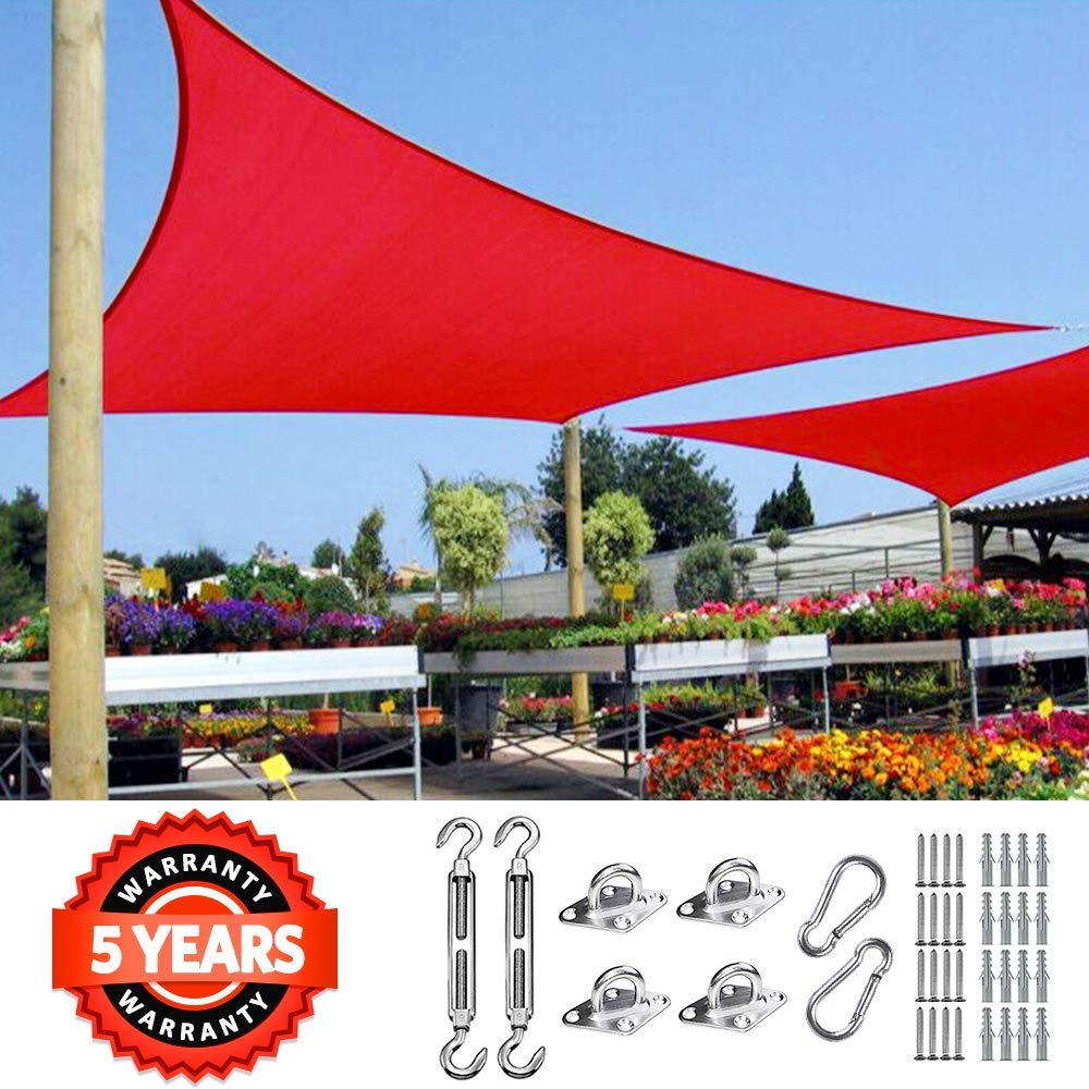 Quictent 20X16FT Red Rectangle Sun Shade Sail Canopy 98 UV Block Outdoor Patio Garden Awning with Free Hardware Kit