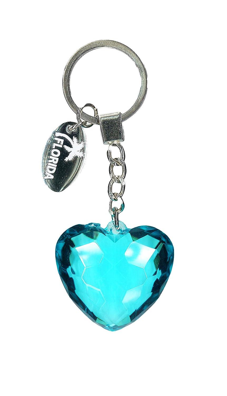 Diamond Heart Crystal Keychain With Florida Dangle Charm