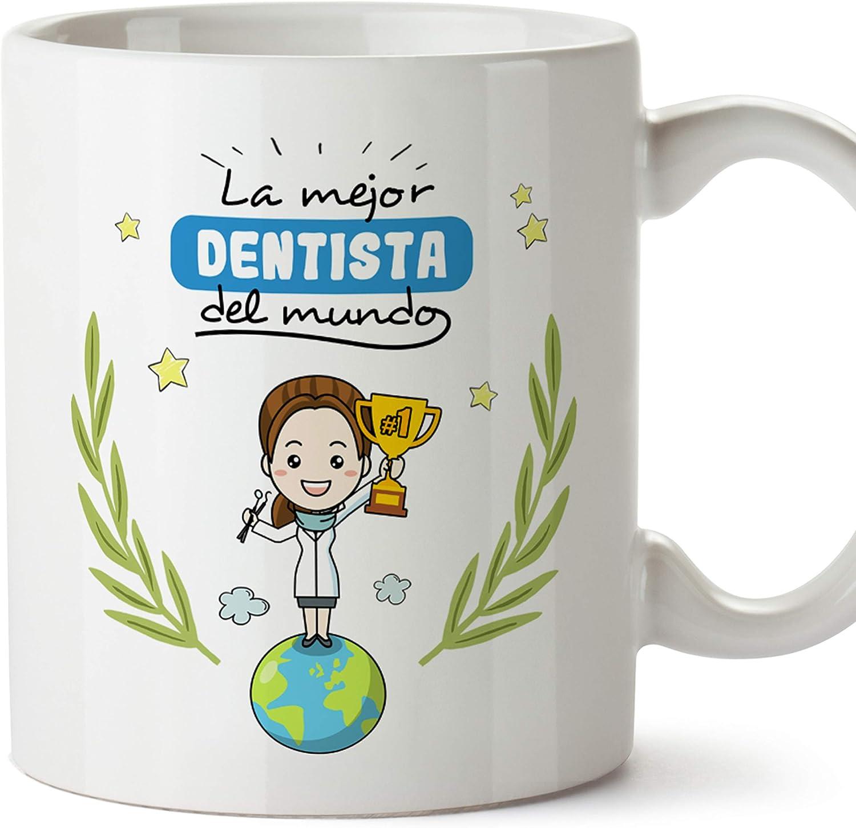 MUGFFINS Taza Dentista Mujer (Mejor del Mundo) - Regalos Originales y Divertidos de Odontología