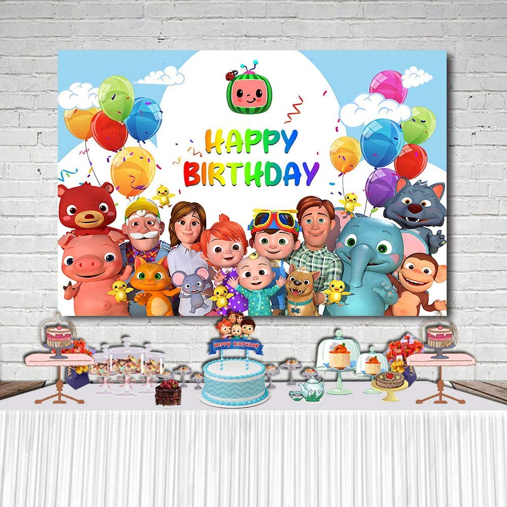 Cartoon Cocomelon Background Children's Birthday Party Backdrop Photography Newborn Baby Shower Backdrop Photo Vinyl Banner Cocomelon Family Theme Party Banner Cake Table Decors Photo Props 7X5FT