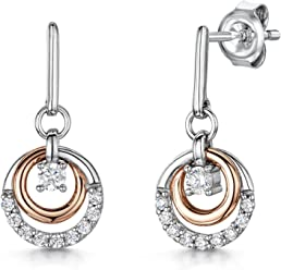 JOOLS by Jenny Brown ®- Sterling Silver and Rose Gold Drop Earrings- Featuring a Tree of Life rose gold And Cubic Zirconia Centre 1xGGZUiE