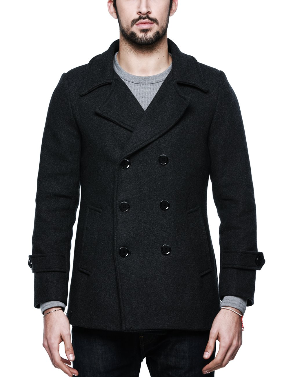 Match Mens Wool Classic Pea Coat Winter Coat (Small, 010-Dark Gray) by Match